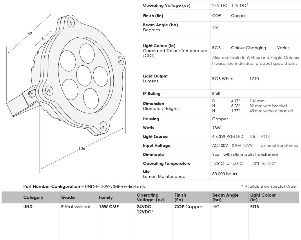 SGi LED Underwater Lights 18 Watt Compass RGB Specifications