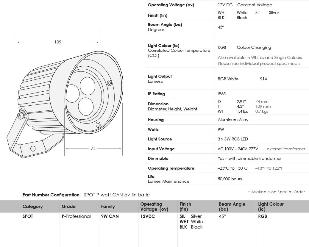 SGi LED Spot Lights 9 Watt Cannon RGB Specification Sheet