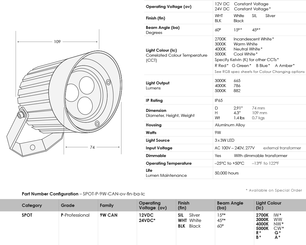 SGi LED Spot Lights 9 Watt Cannon Specification Sheet