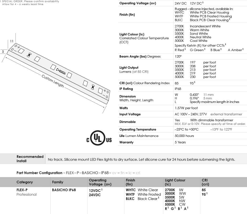 BasicBright High Output IP68 LED Flex Specification Chart
