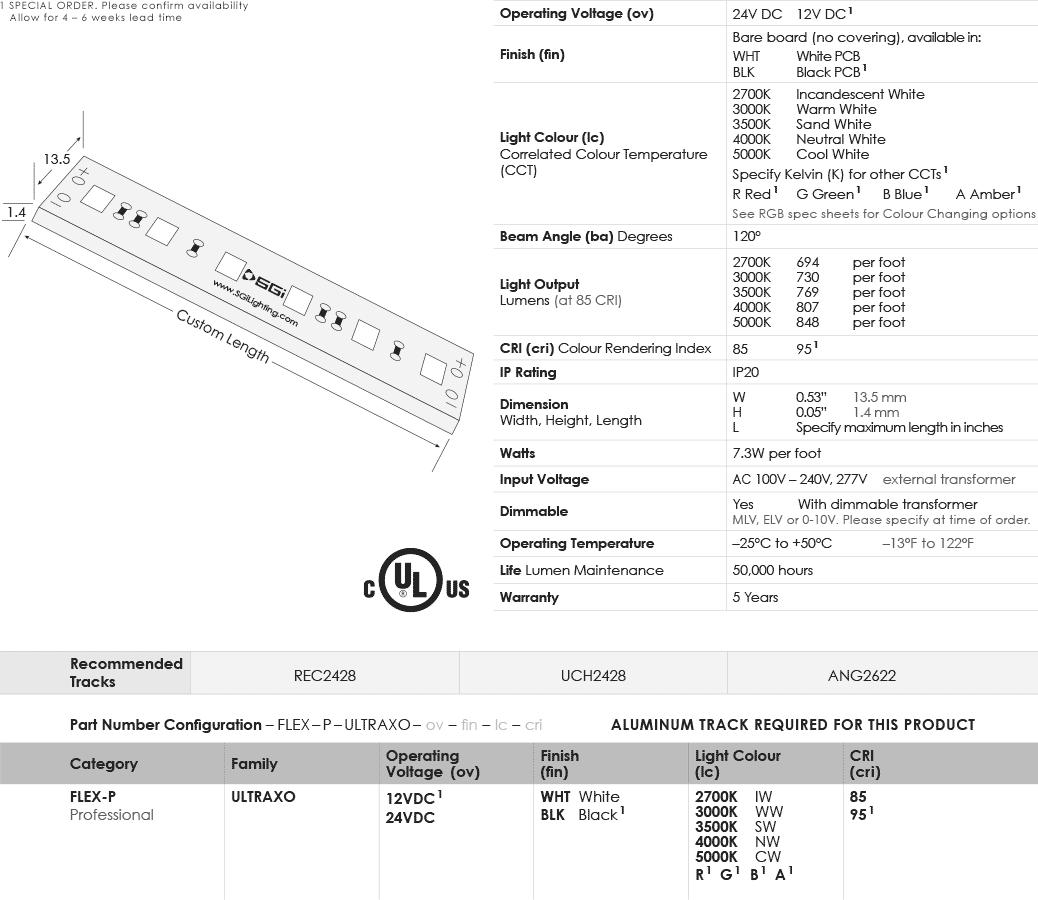 SGi LED Flex Lights UltraBright Extreme Output Specification Sheet