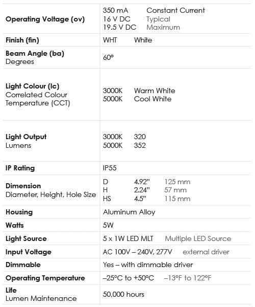 Spec Chart_Downlight_5WS Standard Grade