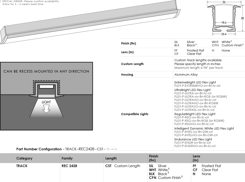 Image of SGi's LED Track Recessed 2428