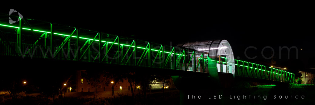 Image of SGi Lighting Cambridge Pedestrian Bridge with RGB Lights at night