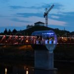 Image of SGi Lighting Cambridge Pedestrian Bridge White in Evening