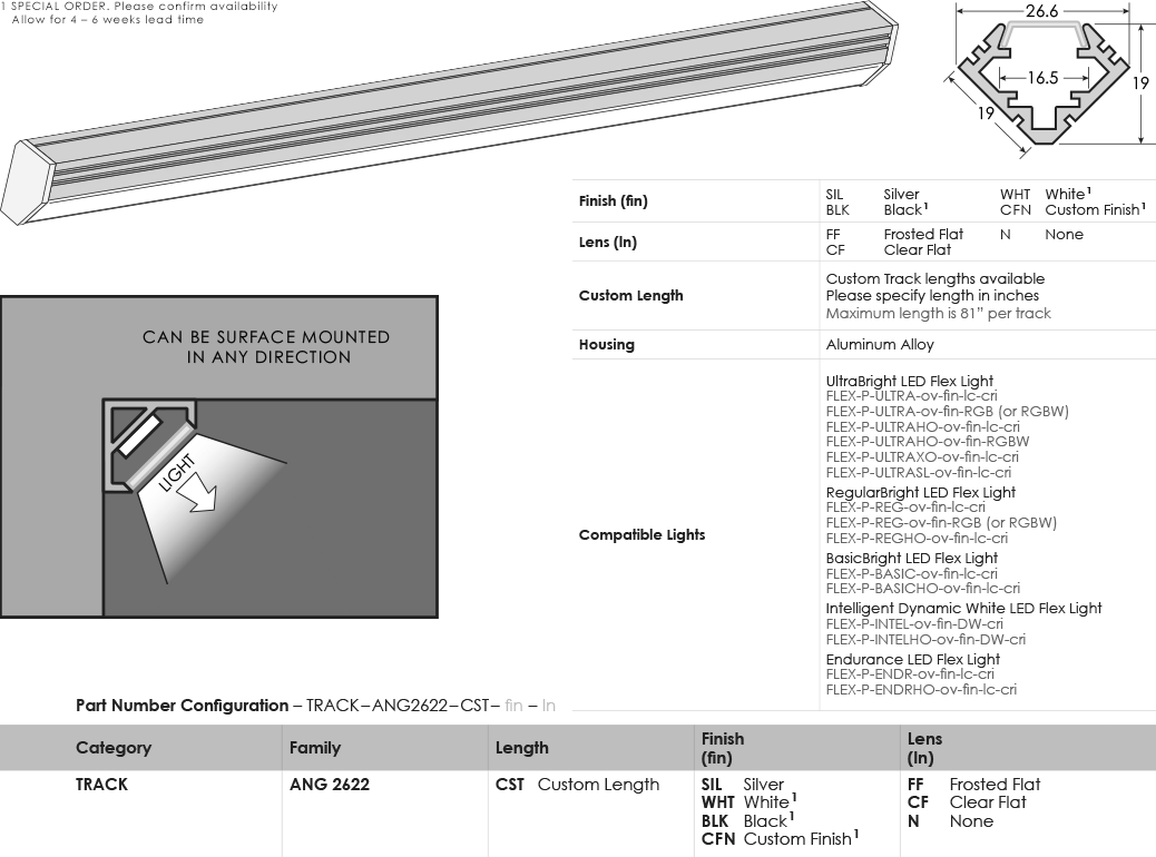 SGi LED Flex Tracks Angled 2622 Specification Sheet