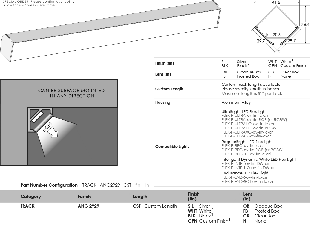 SGi LED Flex Tracks Angled 2929 Specification Sheet