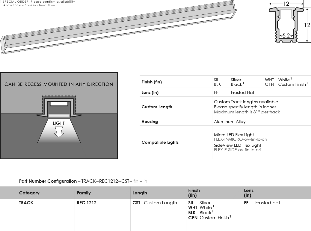 SGi LED Flex Tracks Recessed 1212 Specification Sheet