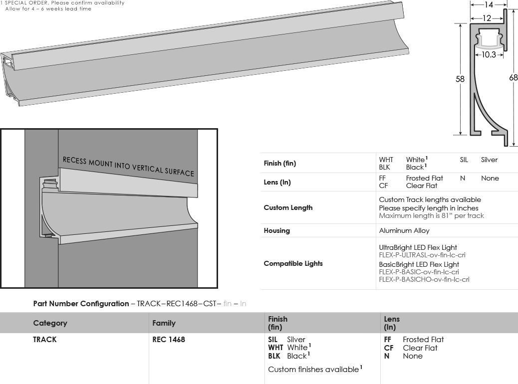 SGi LED Flex Tracks Recessed 1468 Specification Sheet