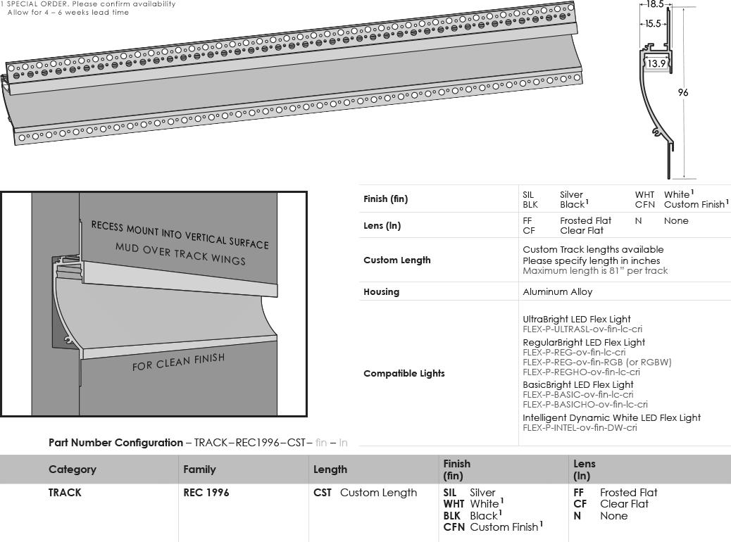 SGi LED Flex Tracks Recessed 1996 Specification Sheet