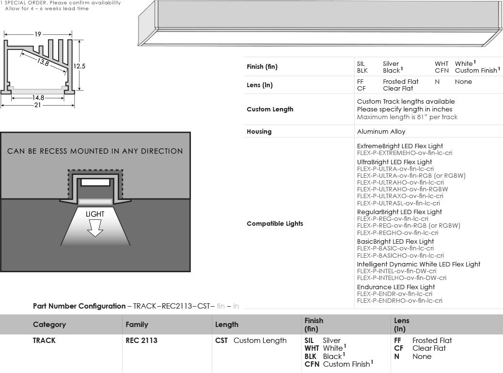 SGi LED Flex Tracks Recessed 2113 Specification Sheet