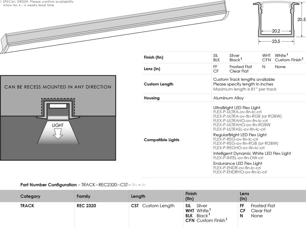 SGi LED Flex Tracks Recessed 2320 Specification Sheet