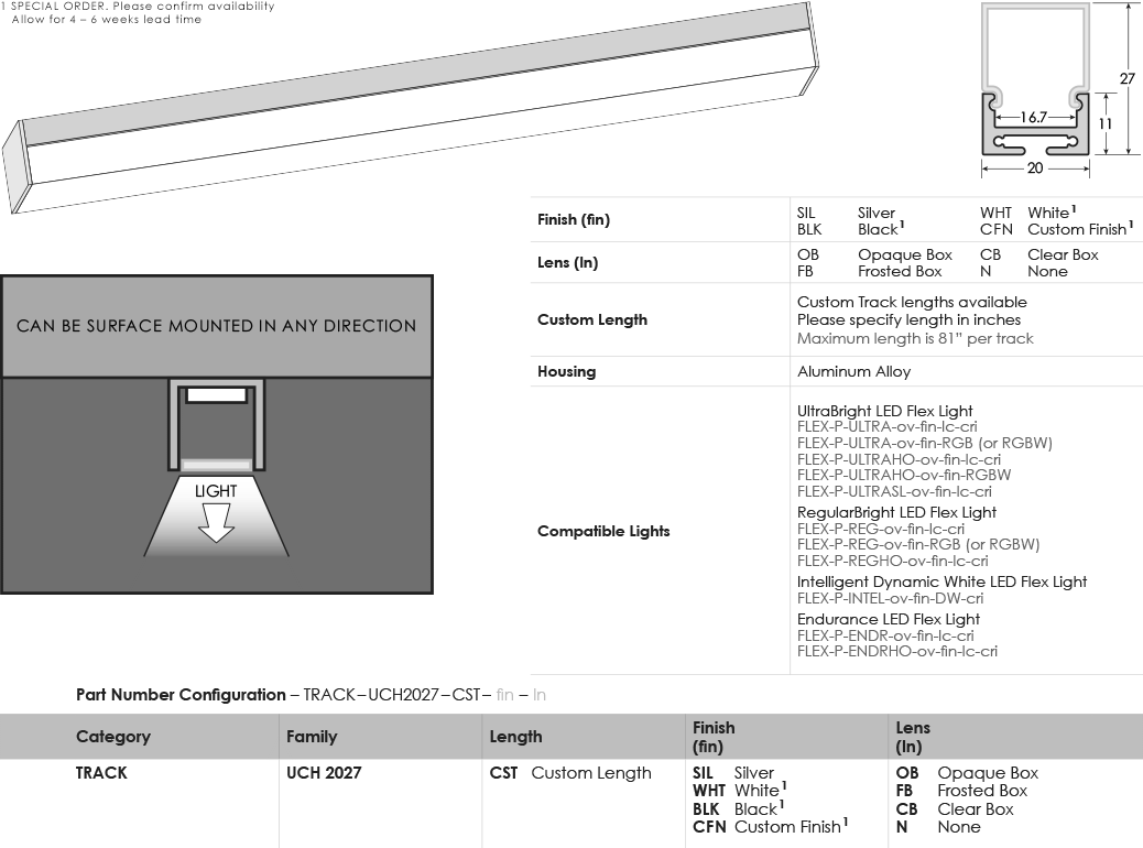 SGi LED Flex Tracks U-Channel 2027 Specification Sheet