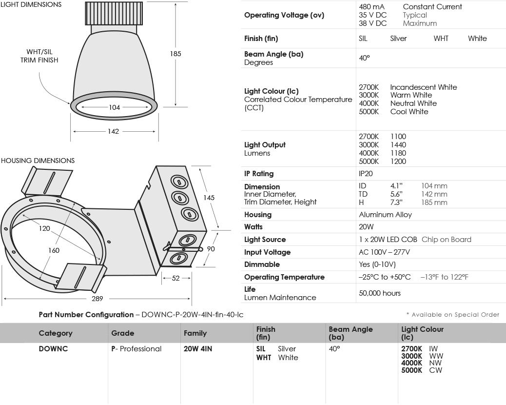 sgi-led-downlights-commercial_20-watt-4-inch_specifications