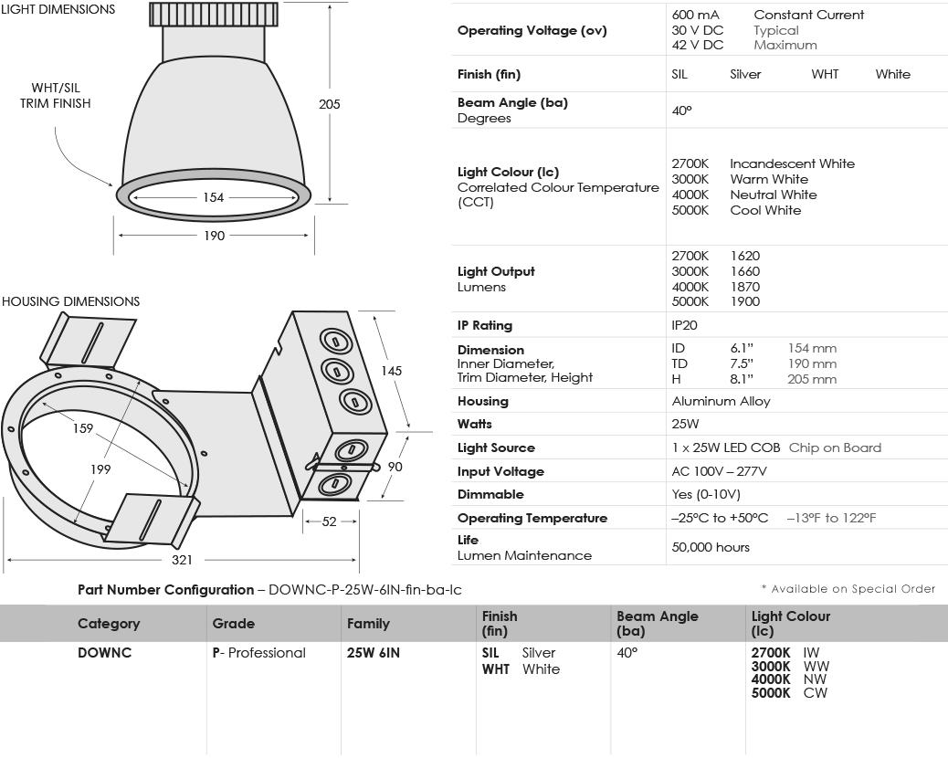 sgi-led-downlights-commercial_25-watt-6-inch_specifications