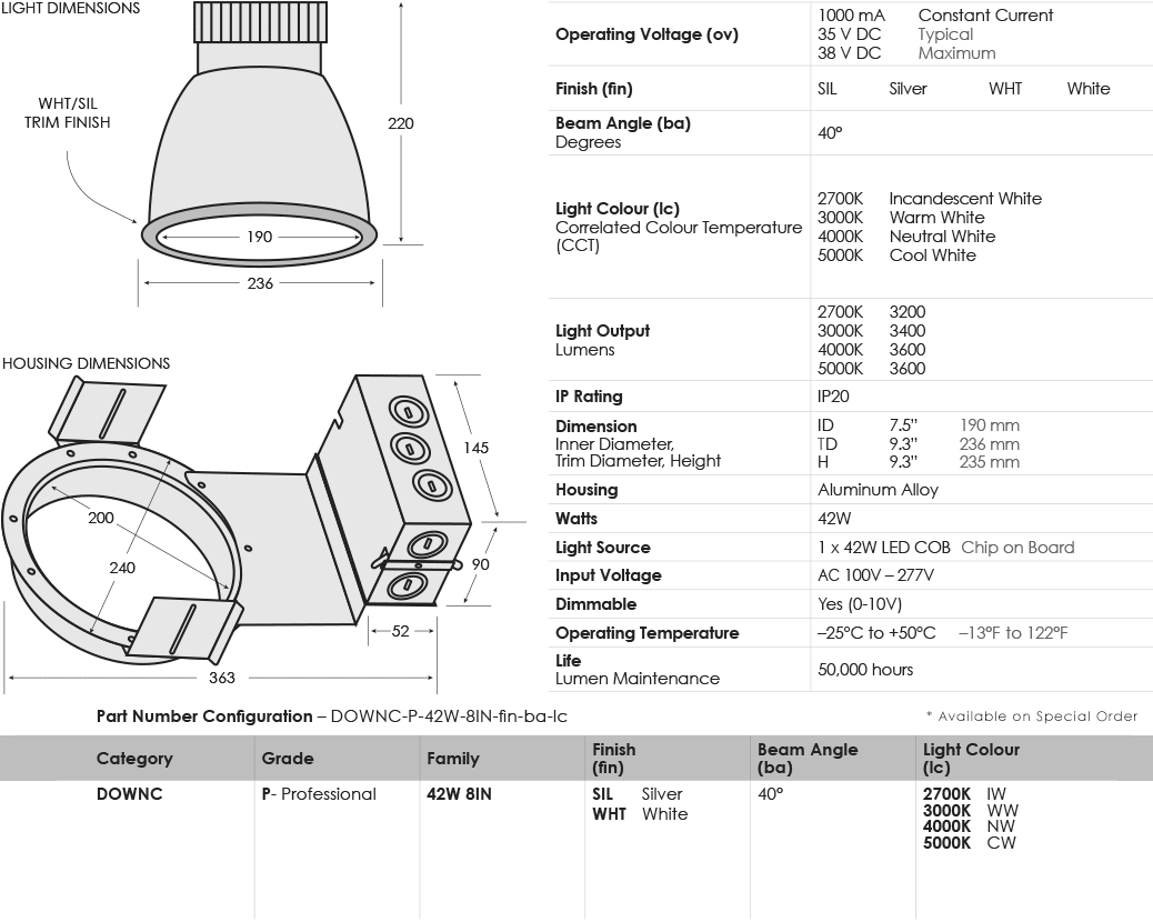 SGi's Specification Image for LED Commercial Downlight 42W 8IN