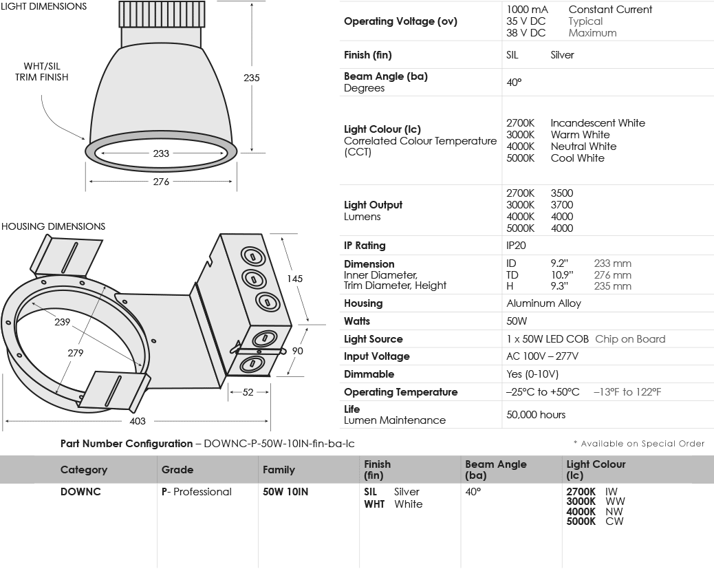 SGi's Specification Chart for LED Commercial Downlight 50W 10IN