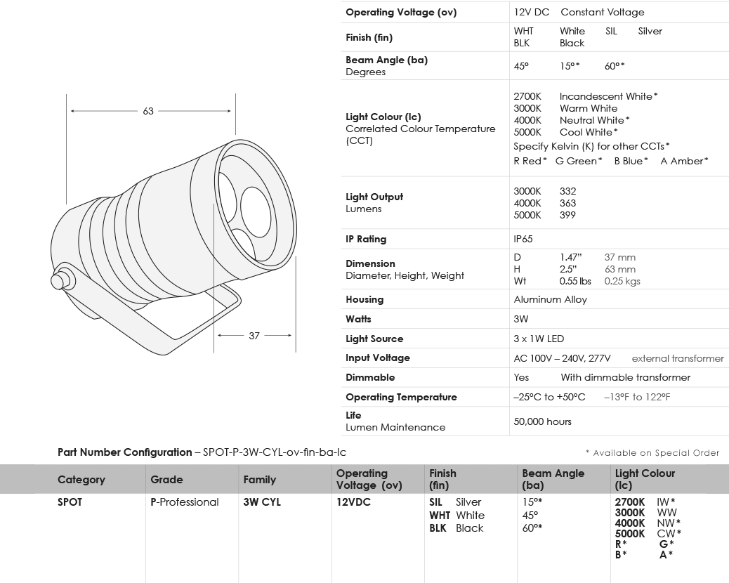 sgi-led-spot-lights_3w-cylinder_specifications