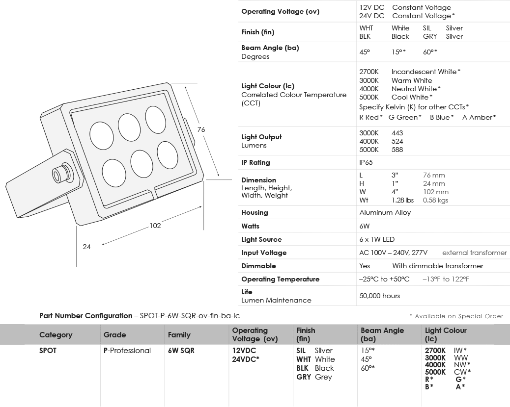 sgi-led-spot-lights_6w-square_specifications