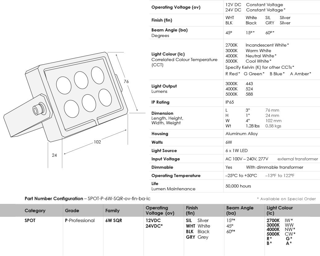 sgi-led-spot-lights_6w-square_specifications